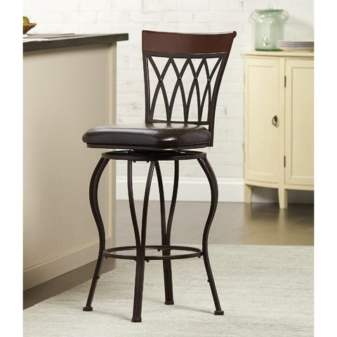 HDC Classic Metal Swivel Bar Stool with Square Cushion - Brown  - 813869001626