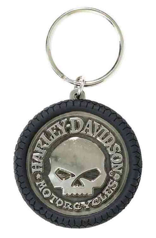 KY102975  H-D® Willie G Skull Hubcap Keychain, Nickel Plated & PVC
