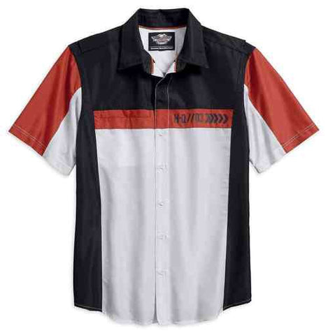 96413-18VM Harley-Davidson® Mens Performance Fast-Dry Colorblocked White Short Sleeve Woven Shirt