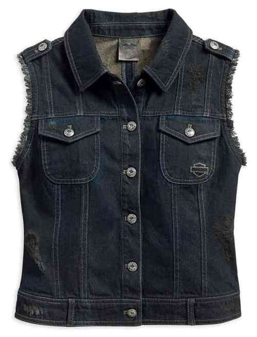 96152-17VW * Harley-Davidson® Women's Distressed Americana Frayed Denim Vest