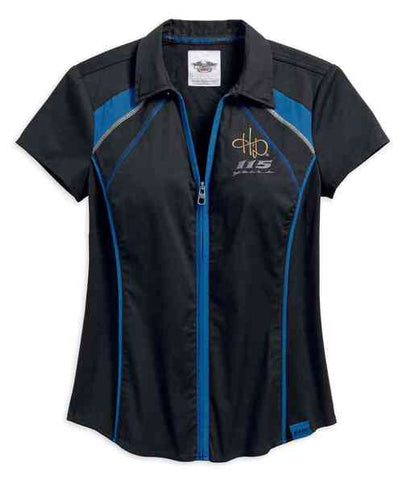99047-18VW  H-D® Womens 115th Anniversary Short Sleeve Zip-Front Shirt