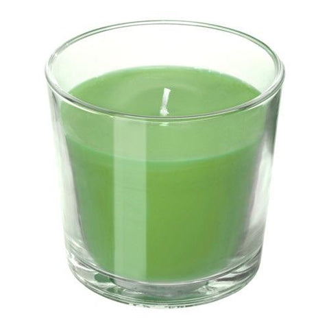 SINNLIG Scented candle in glass, Apple and pear, green, 9 cm. 40337415
