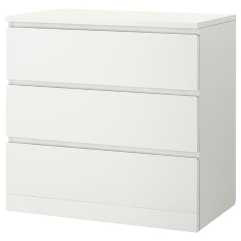 MALM Chest of 3 drawers, white, 80x78 cm. 90354643