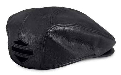 97645-17VM  H-D® Men's Stylized B&S Logo Leather Ivy Cap, Black