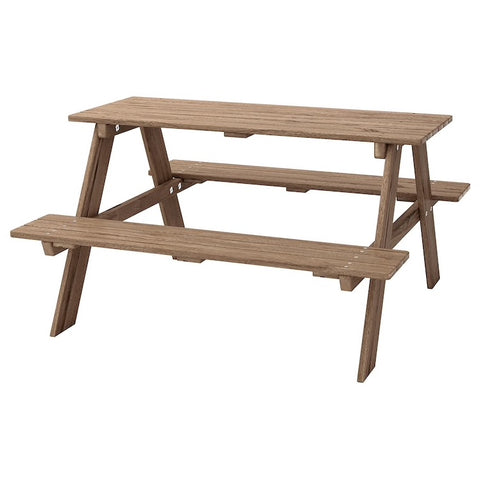 RESO Children's picnic table, grey-brown stained grey-brown. 50228326