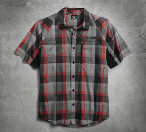 96414-18VM  HD® Mens Performance Fast-Dry B&S Plaid Short Sleeve Woven Shirt