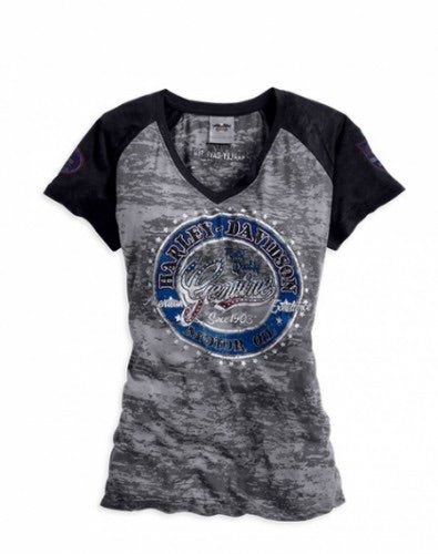 96167-14VW. HD Womens Genuine Trademark B&S Embellished Burnout Grey SS T-Shirt