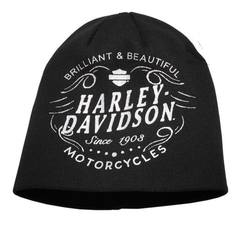 97630-18VW Harley-Davidson® Womens Brilliant & Beautiful Metallic Graphic Black Acrylic Blend Knit Cap