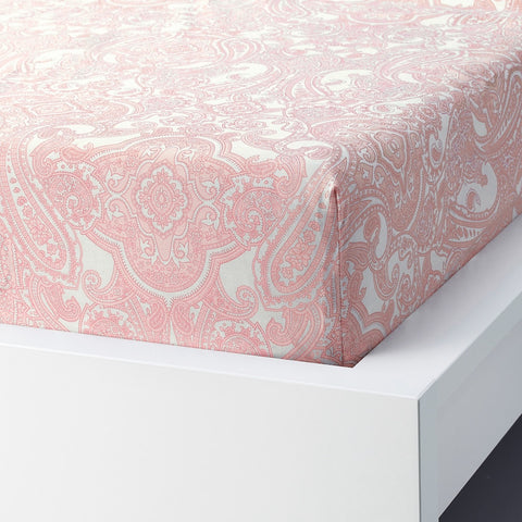 JATTEVALLMO Fitted sheet, white, pink, 180x200 cm. 50410288