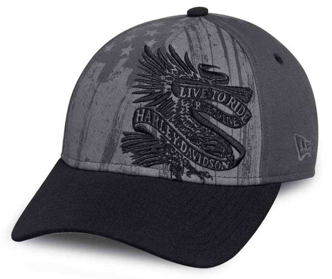 97657-17VM H-D® Mens Americana Live To Ride Eagle Grey Acrylic Blend Baseball Cap