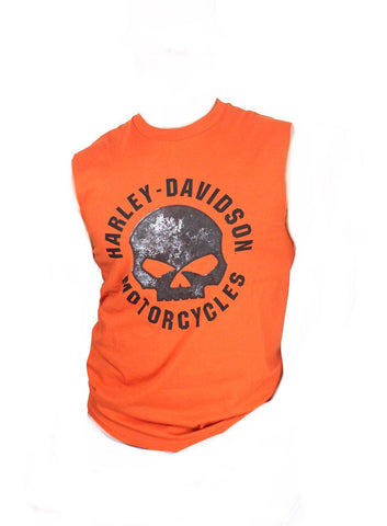 5L31-HE5Q H-D Mens Riding with Fate Willie G Skull Orange Sleeveless Muscle T-Shirt