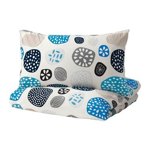 RINGKRAGE Quilt cover and 4 pillowcases, blue white, multicolour 20304307