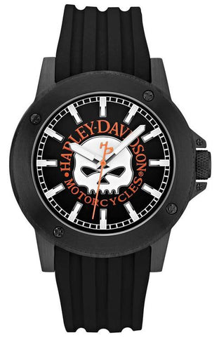 78A115 Harley-Davidson® Mens Willie G Skull Logo with Black Dial and Black Silicone Rubber Strap Watch By Bulova