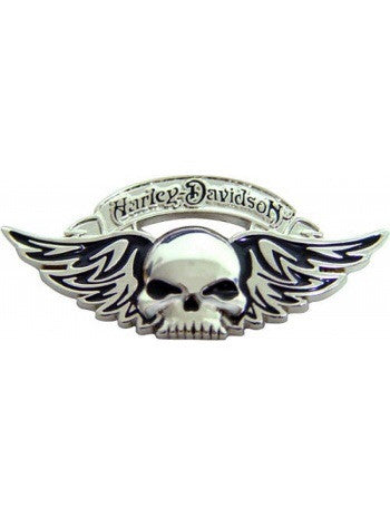 P240065 - HD ® Pin Winged Skull Silver