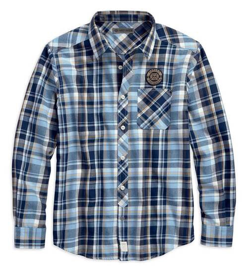 96237-18VM   H-D® Men's Skull Lightning Slim Fit Plaid Woven Shirt