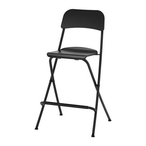 FRANKLIN Bar stool with backrest, foldable, black, black, 63 cm - 70406742