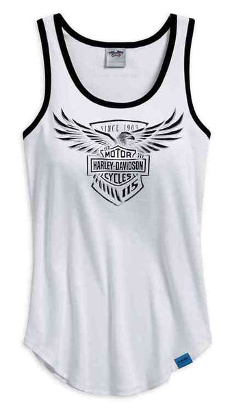 99040-18VW  Harley-Davidson® Women's 115th Anniversary Sleeveless Tank Top, White