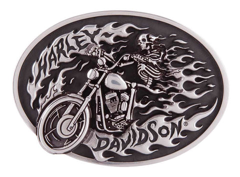 HDMBU11418 H-D Men's High on Fire Belt Buckle, Antique Silver Finish