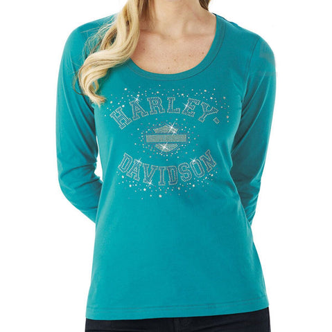 R000959 H-D Womens Starstruck Rhinestones with Studded B&S Green Long Sleeve T-Shirt