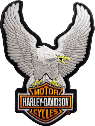 EMB328064 Harley-Davidson® Silver Upwing Eagle Large Patch