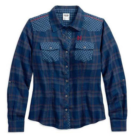 96051-18VW🔹 Harley-Davidson® Women's Versatile Multi Plaid Shirt, Blue & Gray