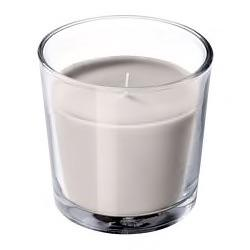 SINNLIG Scented candle in glass, Nutmeg and vanilla, grey, 7.5 cm. 00337399