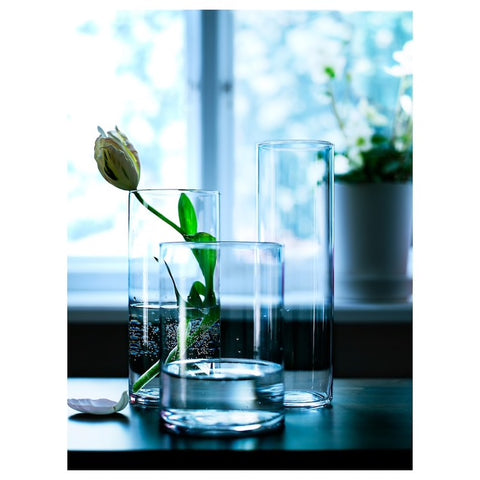 CYLINDER Vase, set of 3, clear glass. 60175214