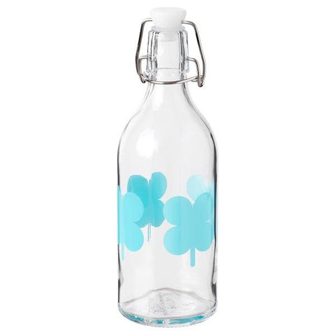 SOMMAR 2019 Bottle with stopper, clear glass, patterned, 0.5 l. 30429533