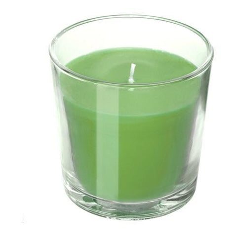 SINNLIG Scented candle in glass, Apple and pear, green, 7.5 cm. 40337401