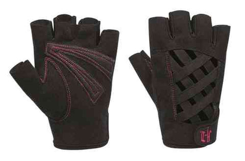 97366-16VW H-D Womens Trellis Criss-Cross Design Amara Polyurethane Black Nylon Blend Fingerless