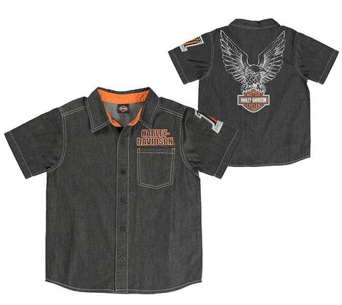 1081829   H-D®BOYS' BLACK DENIM BUTTON-UP SHORT SLEEVE