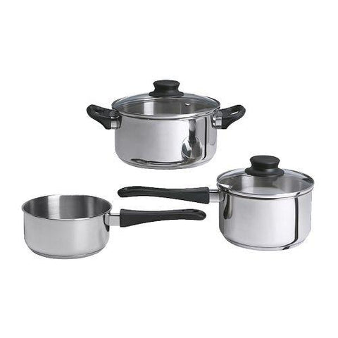 ANNONS 5-piece cookware set, glass, stainless steel. 30207400