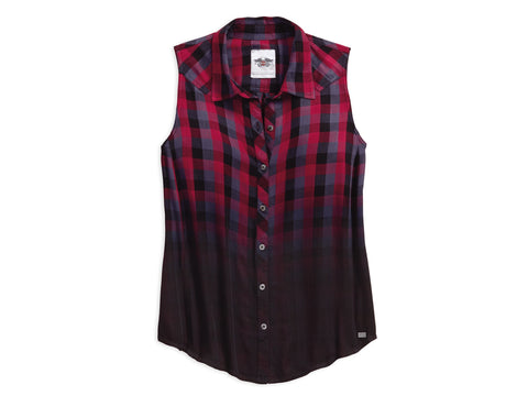 96008-18VW  H-D® Dip-Dye Plaid Women's Shirt