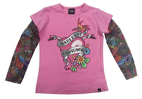 1020611  H-D® Little Girls' Glittery Tee w/ Mesh Tattoo Sleeves