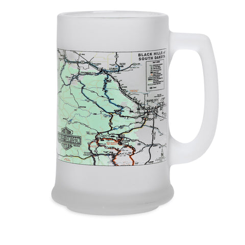 96890-15V - Map Frosted Glass Stein