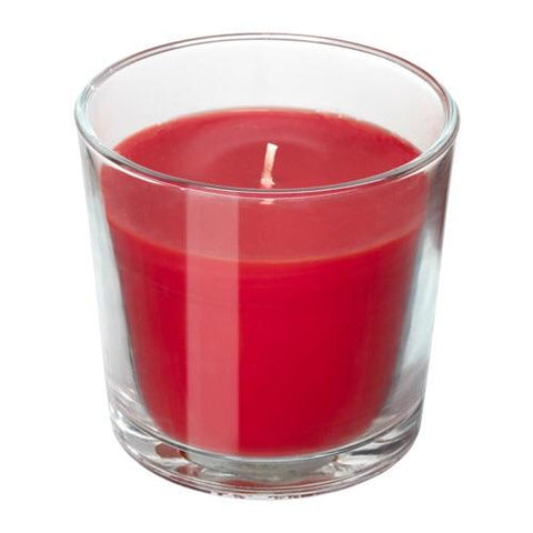 SINNLIG Scented candle in glass, Red garden berries, red, 9 cm. 90337413