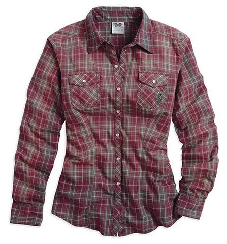 96271-15VW H-D® Womens Winged B&S Vintage Wash Plaid LS Woven Shirt