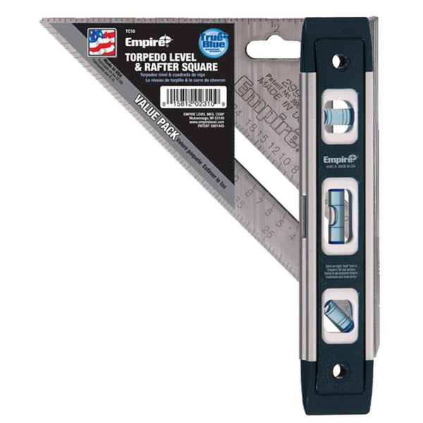 45242559257 - Empire  9 in. Torpedo Level and 7 in. Aluminum Rafter Square Combo