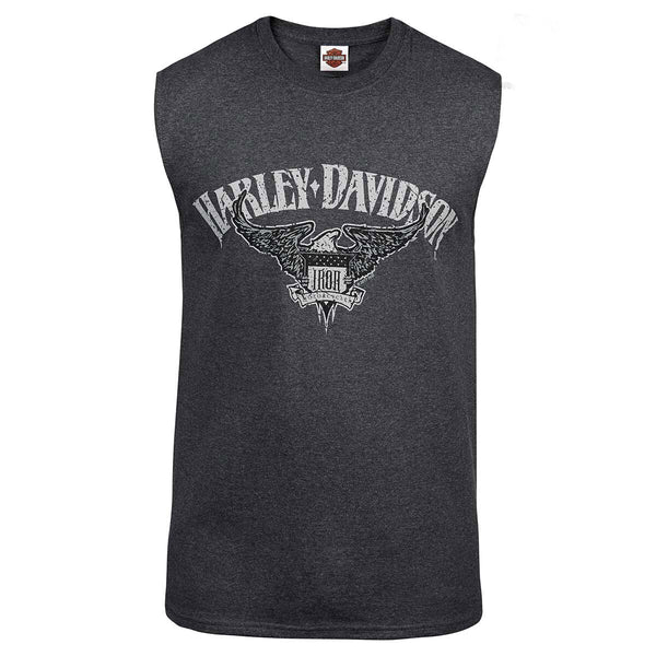 R002214 - Harley-Davidson® Mens Iron Eagle H-D Charcoal Sleeveless Muscle T-Shirt