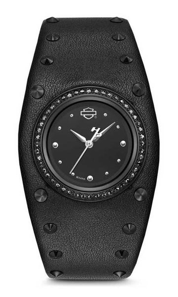 78L128  H-D®  Women's Studded Leather Cuff Stainless Steel Watch, Black
