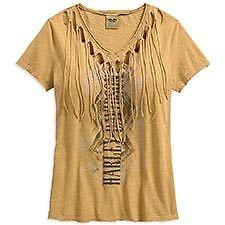 96014-18VW  Harley-Davidson Womens Fringed Raw Edge V-Neck Tan S/S Tee