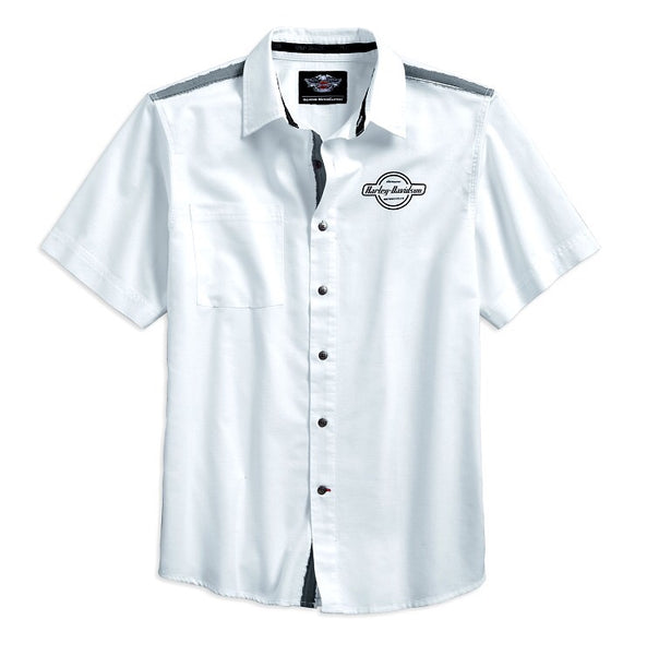 96620-17VM Harley-Davidson® Men's contrast Shoulder Stripe Woven Shirt | Short Sleeves