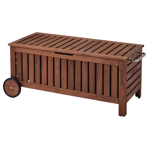 APPLARO Storage bench, outdoor, brown stained brown, 128x57 cm. 70234208