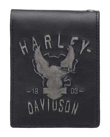 97634-17VM🔹 Harley-Davidson® Men's Embossed Shadow Eagle Bi-Fold Leather Wallet