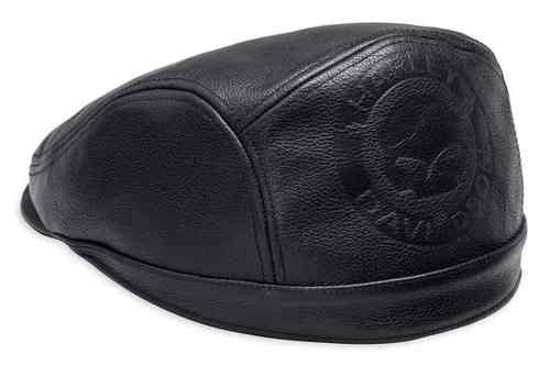 97801-18VM  H-D® Men's Debossed Willie G Skull Leather Ivy Cap, Black
