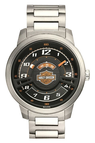76A162  H-D® Mens Bar & Shield Black Multi-Layer Stainless Steel Watch