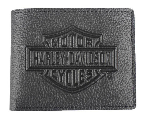 TLAS-XML3554-BLK🔹H-D Men's Embossed B&S Logo Leather Bi-Fold