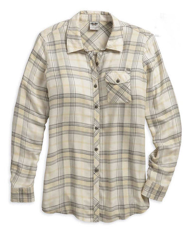 96019-18VW H-D Womens Relaxed Fit B&S Back Graphic Plaid LS Woven Shirt