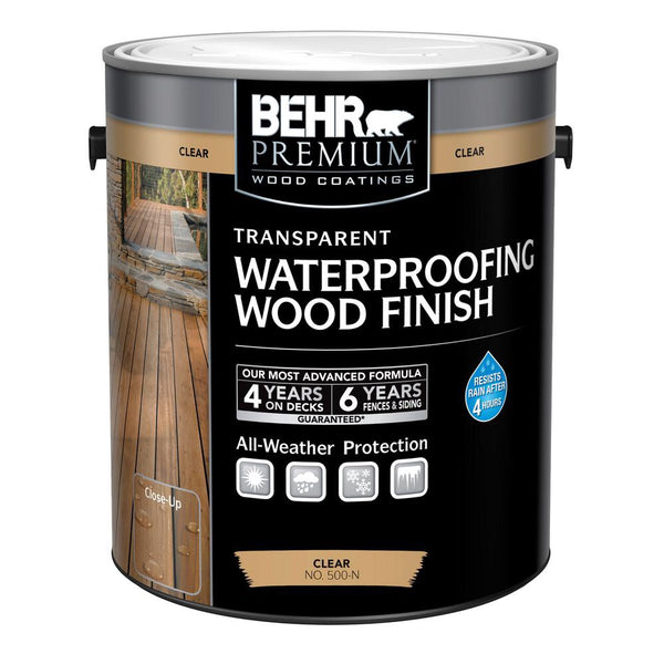 678885196486 - BEHR Premium  1 gal. Clear Transparent Waterproofing Wood Finish
