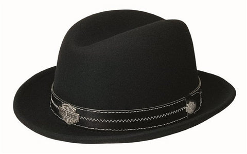 "HD-187 BLACK H-D® Mens Black Band 2"" Brim Crushable HD-187 Black Wool Felt Hat"